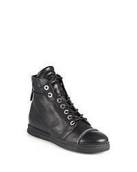 Stuart Weitzman Zipit Leather Sneakers Black