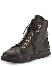 Stuart Weitzman Zipit Vecchio Nappa Leather High Top Sneaker Black