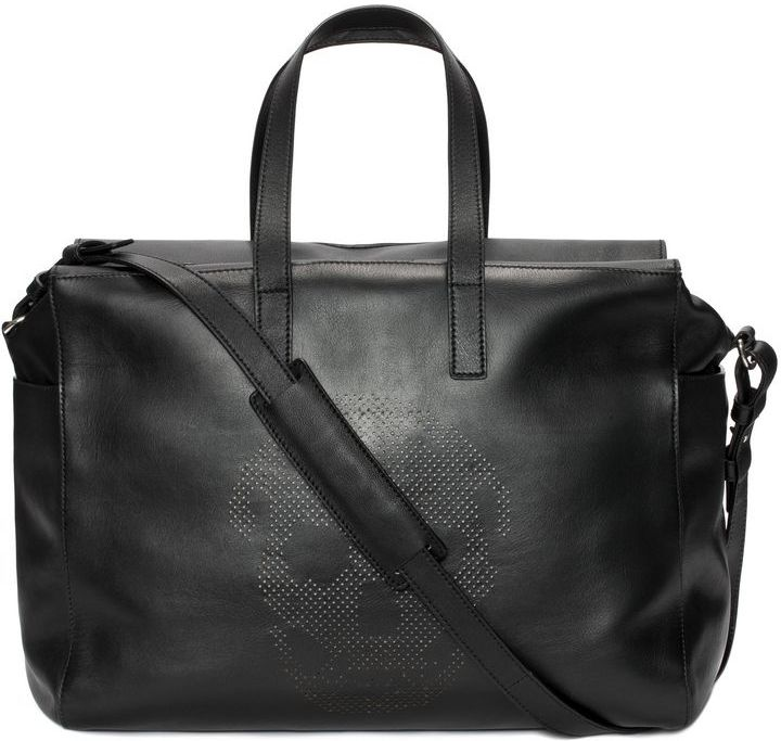 Alexander Mcqueen Leather Perforated Skull Duffle Bag