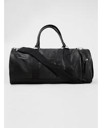 Topman Black Faux Leather Sports Duffle Bag