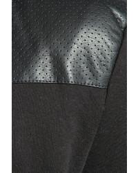 e9419023abcc Boohoo Leather Look Panel Hoody, $35 | BooHoo | Lookastic.com