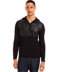 Kenneth Cole Reaction Faux Leather Trim Hoodie