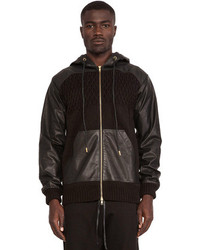 Skingraft Knit Leather Combo Hoodie