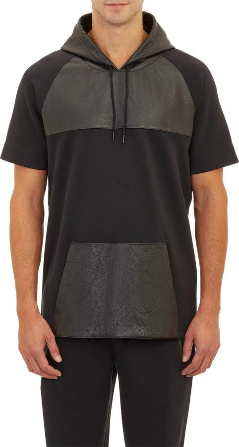 0e22656ec446 ... Black Leather Hoodies Barneys New York Westbrook Xo X Jordan Tech  Fleece Leather Short Sleeve Hoodie