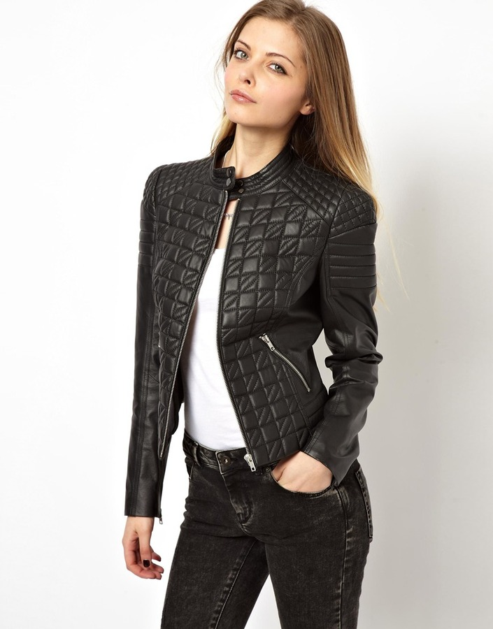 Asos Leather Jacket In Quilt Structured Shoulder Black | Where to ...