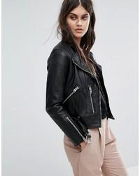 AllSaints Collarless Balfern Leather Jacket