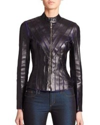 19b207f141 Women's Black Leather Jackets by Versace | Women's Fashion ...