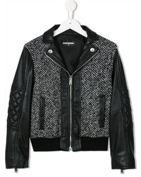DSQUARED2 Kids Herringbone And Faux Leather Bomber Jacket