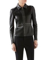 Gucci Embellished Plonge Leather Jacket