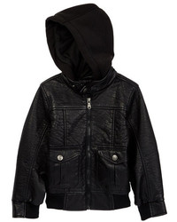 Urban Republic Faux Leather Bomber Hooded Jacket