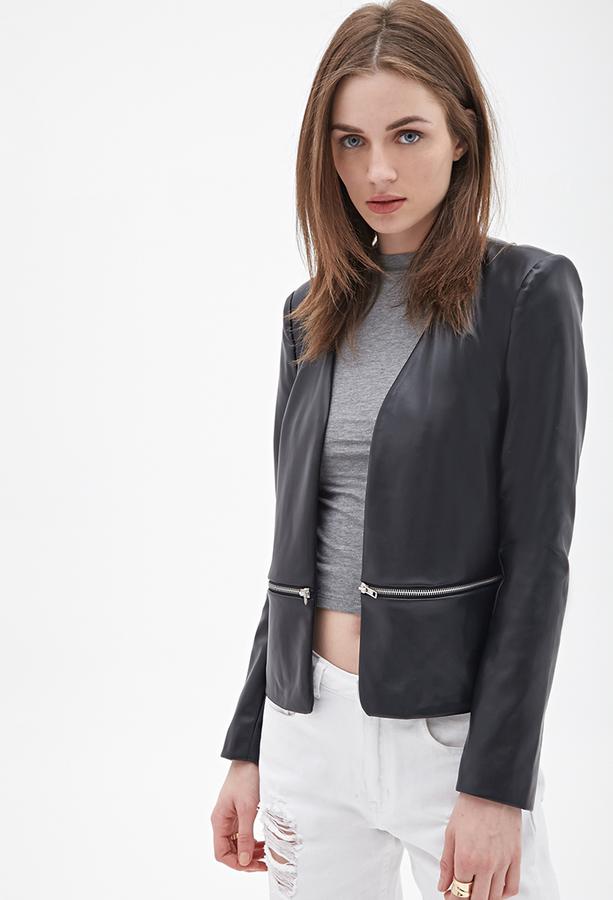 Forever 21 Faux Leather Collarless Jacket | Where to buy & how to wear