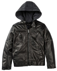 Urban Republic Faux Leather Hooded Moto Jacket