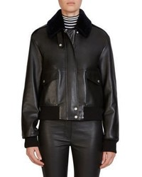 Loewe Fur Trim Leather Aviator Bomber Jacket