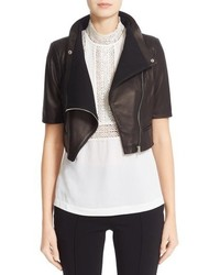 Yigal Azrouel Gimmy Crop Lambskin Leather Jacket