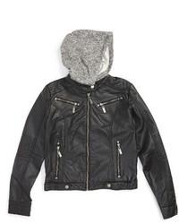 Joujou Girls Jou Jou Faux Leather Moto Jacket With Hood
