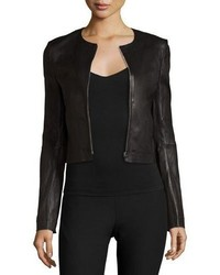 Elizabeth and James Helen Fitted Cropped Leather Jacket Black