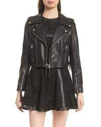 The Kooples Lace Up Lambskin Leather Jacket
