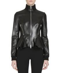 Givenchy Leather Zip Front Peplum Jacket