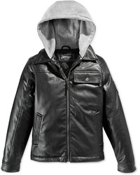 Hawke & Co Little Boys Hooded Faux Leather Jacket