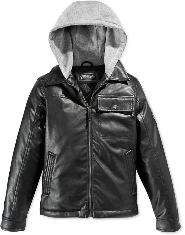 6b7dcd23ce10 Hawke   Co Little Boys Hooded Faux Leather Jacket