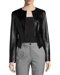 Michael Kors Michl Kors Collection Modern Leather Peplum Jacket Black