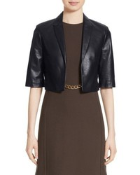 Michael Kors Michl Kors Crop Plonge Leather Jacket