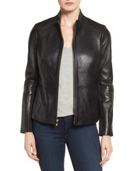 Via Spiga Petite Lambskin Leather Scuba Jacket