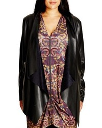 City Chic Plus Size Faux Leather Drape Front Jacket
