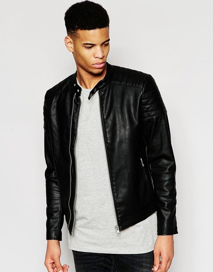 da3fb1d28 $60, Pull&Bear Faux Leather Jacket With Zip Detail