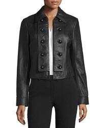 Diane von Furstenberg Sergeant Leather Military Jacket Black