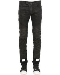Balmain 17cm Biker Coated Cotton Denim Jeans
