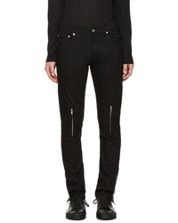 Alexander McQueen Black Leather Pockets Jeans