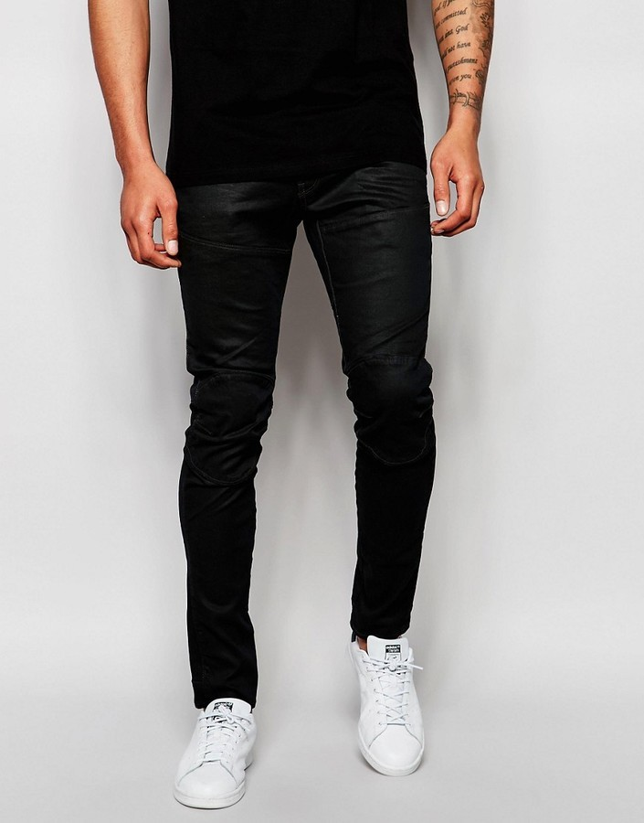 9b7134ac639 ... Black Leather Jeans G Star G Star Jeans Elwood 5620 3d Super Slim Fit  Stretch Overdye In Asfalt ...