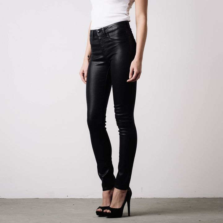 630290faee7d3 ... DSTLD High Waisted Skinny Jeans In Black Coated Powerstretch ...