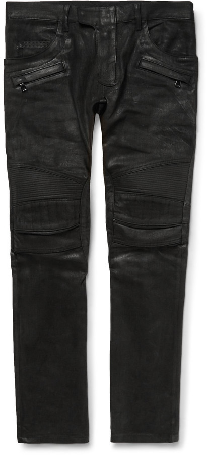 cf9973e5 Balmain Skinny Fit Waxed Denim Jeans, $1,400 | MR PORTER | Lookastic.com