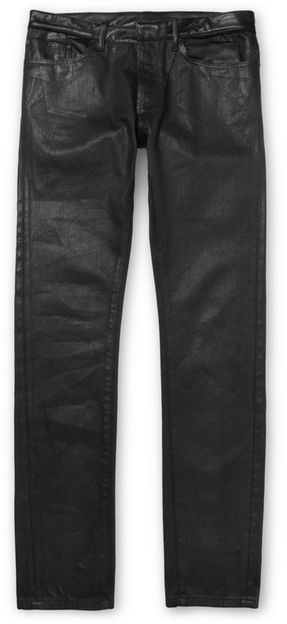 timeless design b5251 f6a95 $545, Balenciaga Slim Fit Coated Denim Jeans With Leather Waistband