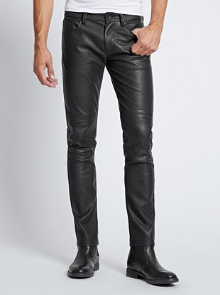 moto pants mens. guess slim tapered faux leather moto pants mens g