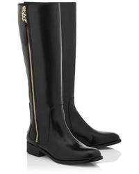 Jimmy Choo Balan Flat Black Shiny Leather Flat Knee High Boots ...