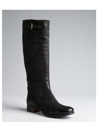 Prada Black Antic Leather Knee High Riding Boots