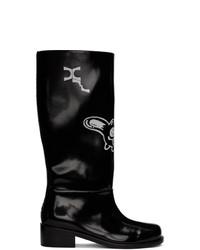 Xander Zhou Black Glossy Graphic Boots