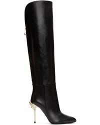 Versace Black Knee High Medusa Boots