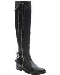 Giuseppe Zanotti Black Leather Dual Zip Accent Moto Knee High Boots