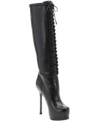 Saint Laurent Black Leather Tribute 105 Lace Up Knee High Boots