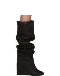 MM6 MAISON MARGIELA Black Mesh Tall Boots