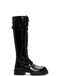 Ann Demeulemeester Black Patent Lace Up Knee High Boots