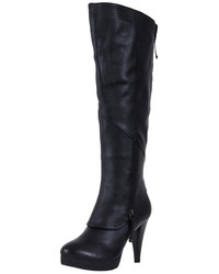 ChicNova Black Real Leather Knee High Boots