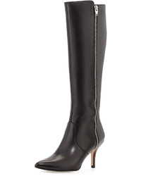 Neiman Marcus Katie Leather Zip Knee Boot Black