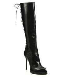 Alexander McQueen Lace Up Knee High Leather Boots