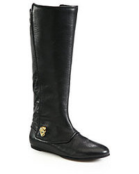 Alexander McQueen Leather Skull Knee High Boots