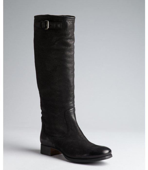 prada black leather knee high boots
